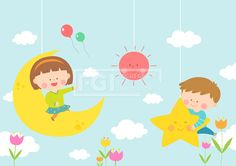 SILL157, 베이비스토리, 에프지아이, 아기, 교육, 어린이, 사람, 캐릭터, 오브젝트, 여자, 남자, 소녀, 소년, 2인, 꿈, 달, 별, 태양 #유토이미지 #프리진 #utoimage #freegine 19519223