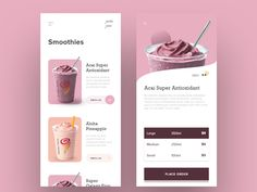 Smoothie App Exploration designed by MD Touhidul Islam Jahin. Connect with them on Dribbble; Wireframe, Web Design, Parallax Effect, Ui Design Mobile, Apps, Screen Design, Design Graphique, Web Layout, Ui Inspiration