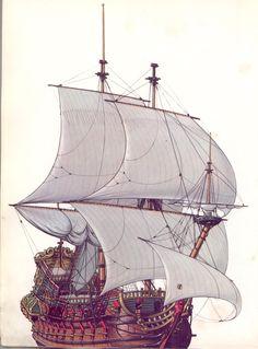 Dutch ship of the line Model Sailing Ships, Old Sailing Ships, Model Ships, Ship Of The Line, Man Of War, Boat Painting, Nautical Art, Navy Ships, Beautiful