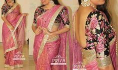 Floral pattern blouse -- designer saree