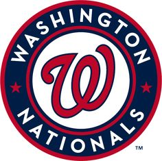 Washington Nationals Primary Logo (2011) - A red curly W with a blue outline inside a blue circle with red outlines, two red stars, and Washington Nationals in white