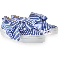 Joshua Sanders Blue Striped Bow Slip-On Trainers (1,265 SAR) ❤ liked on Polyvore featuring shoes, sneakers, blue leather shoes, slip-on sneakers, blue sneakers, leather slip-on shoes and flatform sneakers