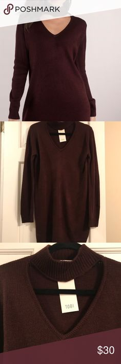 Burgundy Sweater Dress Dark Burgundy Sweater Dress•loser fit•turtle neck with v-neck detail•long sleeves•NWT•great with over the knee boots Tobi Dresses Long Sleeve