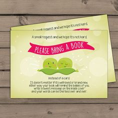 Baby shower Bring a book card Two peas in a by Anietillustration