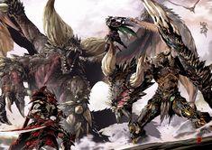 Beautiful Science Fiction, Fantasy and Horror art from all over the world. Monster Hunter World Wallpaper, Monster Hunter Memes, Cry Anime, Anime Art, Shadow Wolf, Beautiful Dragon, Girls Anime, Fantasy Monster, Monster Design