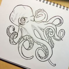 black and white octopus drawing - Szukaj w Google