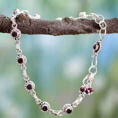 Novica Handmade Sterling Silver 'Scarlet Sun Blossoms' Garnet Anklet (India) (Solid), Red, Size 7 mm wide x 9 Sterling Silver Anklet, Silver Anklets, Handmade Sterling Silver, Silver Ankle Bracelet, Ankle Jewelry, Ankle Bracelets, Gemstone Jewelry, Silver Jewelry, Diamond Jewelry