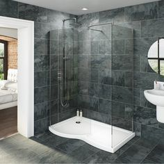 Image of V6 Curved Walk In Shower Enclosure & Tray Pack 1400 x 900 LH