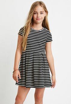 Girls Ribbed Stripe Dress (Kids)   Forever 21 girls - 2000174704