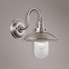 """Downtown Edison Collection 13"""" High Brushed Nickel Sconce $119 kids' bath"""