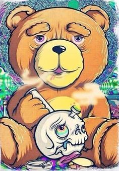 Teddy Bear Smoking Bong T-Shirt http://amzn.to/2sN8gtY