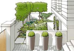 Illustration for Stuart Craine Garden Design. Garden Architecture, Architecture Sketches, Contemporary Garden Design, Interior Design Sketches, Landscape Design Plans, Garden Yard Ideas, Family Garden, Landscape Illustration, Plant Design