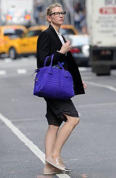 Cate Blanchett in NYC | Tom & Lorenzo Fabulous & Opinionated Tod's D-Styling 'Bauletto' bag #purplehandbag