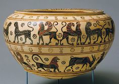 Dinos (mixing bowl), ca. 630–615 B.C.  Attributed to the Polyteleia Painter  Greek, Corinthian (Transitional Period)  Terracotta