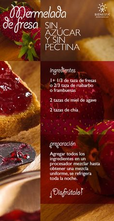 Receta-mermelada-sin-azucar Más Jam Recipes, Raw Food Recipes, Vegetarian Recipes, Cooking Recipes, Healthy Recipes, Healthy Sweets, Healthy Cooking, Healthy Snacks, Chutneys