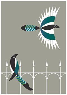 "Print ""Two for Joy"" of the Irish Bird Series by Alan Nagle"