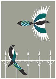 """Lovely magpie graphic """"Two for Joy"""""""