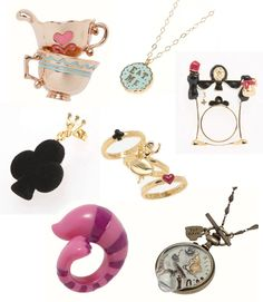 super cute alice in wonderland/disney version jewelry.love the clock necklace and the 'eat me' necklace, and cheshire ring Clock Necklace, Onyx Necklace, Disney Couture, Disney Jewelry, Disney Rings, Were All Mad Here, Alice In Wonderland Party, Through The Looking Glass, Disney Outfits