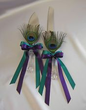 Wedding Accessories Bridal Peacock Cake Knife and Server Set Your Color Ribbon