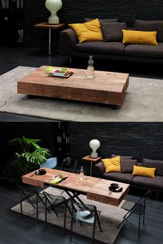 Mesa de centro, convertible en mesa de comedor.
