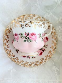 Vintage Royal Albert Tea Cup and Saucer by MariasFarmhouse on Etsy, $75.00  OR WOULD YOU RATHER HAVE THIS ONE, AND SUSAN GETS THE GREEN?