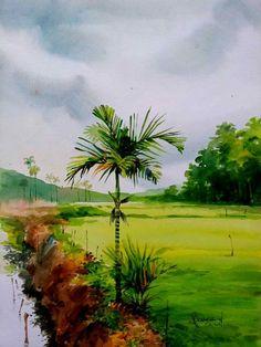 Watercolor Scenery, Watercolor Art Paintings, Watercolor Landscape Paintings, Indian Art Paintings, Landscape Wallpaper, Watercolor Portraits, Acrylic Paintings, Watercolours, Green Landscape