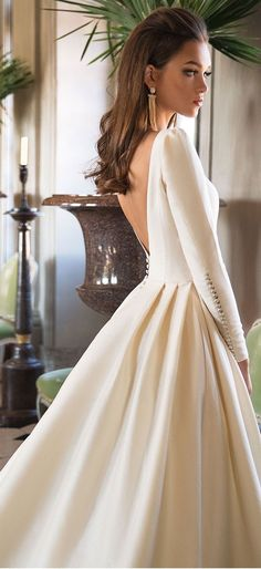 Long Sleeves Simply A Line Wedding Dress: Milla Nova Wedding Dress . Long sleeve simple a line wedding dress: Milla Nova wedding dress . Dream Wedding Dresses, Bridal Dresses, Modest Wedding, Pageant Dresses, Sleek Wedding Dress, Posh Dresses, Casual Wedding, Ivory Wedding, Simple Dresses