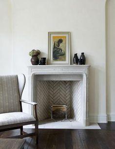 herringbone tile fireplace, a timeless design Herringbone Fireplace, Herringbone Tile, Chevron Tile, Patio Interior, Interior Exterior, Interior Design, Interior Ideas, Interior Decorating, Decorating Ideas