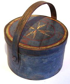 folk art blue painted pantry box
