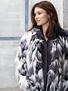 Wrap up in faux fur this winter. Plus size jacket from JUNAROSE
