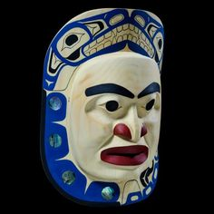 """Wolf Howling in the Moon"" Mask by Sam McKay, Nisga'a, Laxgalts'ap (Greenville) artist (XN130407)"
