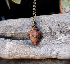 Small Arrowhead Necklace  Stone Pendant  by MermaidTearsDesigns