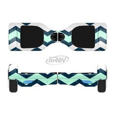 The Teal & Blue Wide Chevron Pattern Full-Body Skin Set for the Smart Drifting SuperCharged iiRov HoverBoard from Design Skinz. #hoverboard #cool.