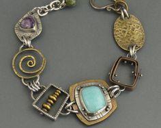 Amazonite Bracelet, Sterling Silver, Copper, Brass, Mixed Metal, Rivets, statement jewelry