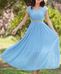 Bohemian Women's V-Neck Lace Embellished Short Sleeve Chiffon Dress