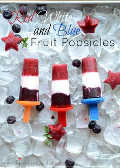 Red White and Blue Popsicles - fruit and yogurt. Your summer NEEDS these... my kids ate them up like candy, plus they are cute!   from www.blessthismessplease.com