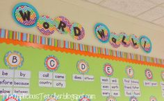 """I also used these fun Stitches on Chocolate 4"""" Designer Letters letters for over my word wall. Each letter for the Word Wall is on CTP's Dots on Turquoise 6"""" Cut-Outs."""