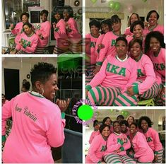 Sorority Pajamas - Pink and Green/ Preorder- Processing will BEGIN after JUNE Orders will be completed and shipped in the order they are received. Aka Sorority Gifts, Sorority Outfits, Sorority Life, Sorority Fashion, Sorority Girls, Sigma Lambda Gamma, Alpha Kappa Alpha Sorority, Sorority And Fraternity, Aka Apparel