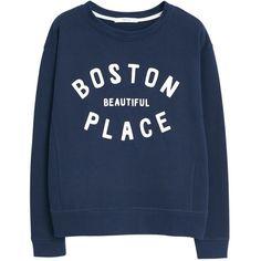 Mango Cotton Printed Message Sweatshirt, Navy ($11) ❤ liked on Polyvore featuring tops, hoodies, sweatshirts, sweaters, haut, jumper, crew neck sweatshirts, mango sweatshirt, cotton sweatshirts and navy crew neck sweatshirt