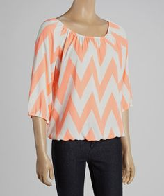 Another great find on #zulily! Neon Coral & White Zigzag Ruched Scoop Neck Top #zulilyfinds