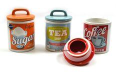 RETRO SET OF 3 AIR TIGHT RED ORANGE BLUE TEA COFFEE SUGAR JARS STORAGE CANISTERS in Home, Furniture & DIY | eBay
