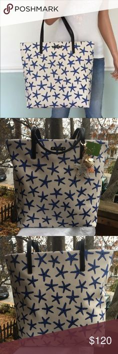 """NWT Kate Spade Bon Shopper Tote NWT Kate Spade Bon Shopper Tote Coated Canvas with the Blue Starfish Print! Adorable bag is lined has multiple slip pockets double Blue Patent Leather strap drop is approx 8"""" Tote measures approx 15 X 13 X 5 the adorable hang fobs top this bag off plz see all pics as it's a huge part of the description ❌no trade price firm❌ Kate Spade Bags Totes"""