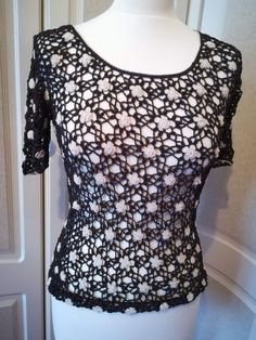 0fe616429136d Brown and cream crochet short sleeve jumper - 8-10  fashion  clothing