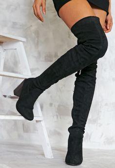 Heart on Fire Thigh High Boots - Black