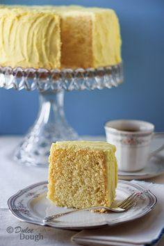 Lemon Chiffon Cake with Lemon Butter Icing Lemon Desserts, Lemon Recipes, Just Desserts, Delicious Desserts, Cake Recipes, Dessert Recipes, Icing Recipes, Lemon Cakes, Yummy Food