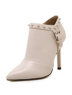 Beige Studded Buckle Detail PU Heeled Ankle Boots | Choies