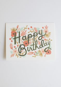 """Floral Burst Birthday Card By Rifle Paper Co. 4.99 at shopruche.com. Designed by Rifle Paper Co., this charming birthday card in natural white is finished with a romantic botanical illustration and a blank interior. Envelope included.4.25"""" x 5.5"""", Printed in the USA, Blank interior"""