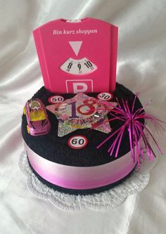 ** Birthday * Car * Driving license * Towel cake * for birthday * for women. - ** Birthday * Car * Driving license * Towel cake * for birthday * for women * … – - Diy Birthday, Birthday Presents, Xmas Gifts, Diy Gifts, Birthday Gifts For Bestfriends, Bmw Autos, Birthday Cakes For Women, Banners, Birthdays