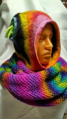 """Купить или заказать Валяная шапка - капюшон """"Goblin fashion color"""" в интернет магазине на Ярмарке Мастеров. С доставкой по России и СНГ. Материалы: шерсть меринос, шерсть 100%. Размер: 55_57"""
