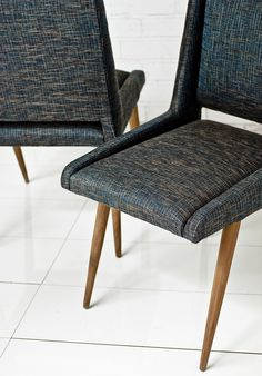 For the Mid Century modern home, the Mid Century dining chairs are the perfect accent for your dining room.  Upholstered in a textured woven navy linen.